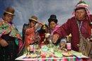 Fotografía del viernes 28 de junio de 2013 de chamanes y curanderos aimaras participando en rituales dedicados a deidades andinas como la Madre Tierra o Pachamama en el municipio de La Paz. EFEImagen del viernes 28 de junio de 2013 de ancianas parteras aimaras explicando su trabajo durante la Primera Feria de Medicina Tradicional organizada por el municipio de La Paz. EFEFotografía del 28 de junio de 2013 de un feto de llama disecado ardiendo en un altar como parte de las ofrendas dedicadas a la Pachamama, para dar inicio a la Primera Feria de Medicina Tradicional organizada por el municipio de La Paz. EFE
